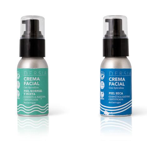 Dersia, envases de crema facial para piel normal, mixta y seca