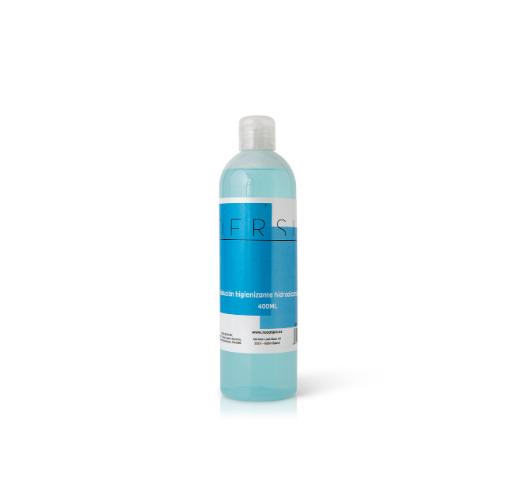 botella de 400ml de líquido hidroalcohólico desinfectante de neoalgae, que se puede personalizar en tamaños, aromas o densidades